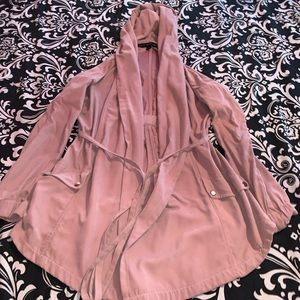 Pink trench coat with hood and string to tie!